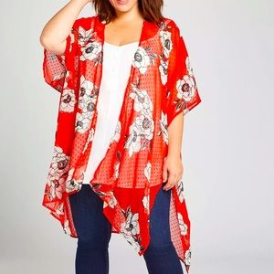 PLUS Lane Bryant Red & Black Floral Kimono